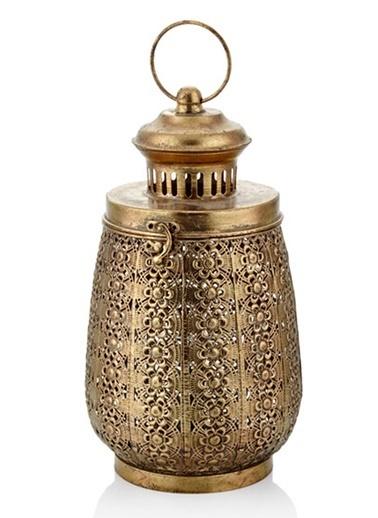 Cemile Antik Gold Kapaklı Büyük Fener 18X18X33 Cm Altın